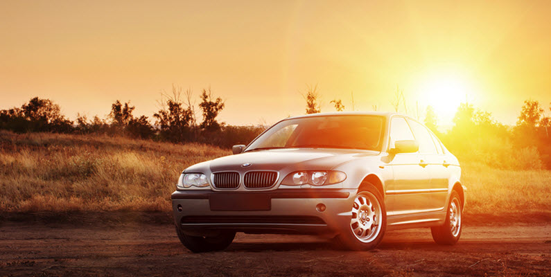 BMW E46 on Road at Sunset